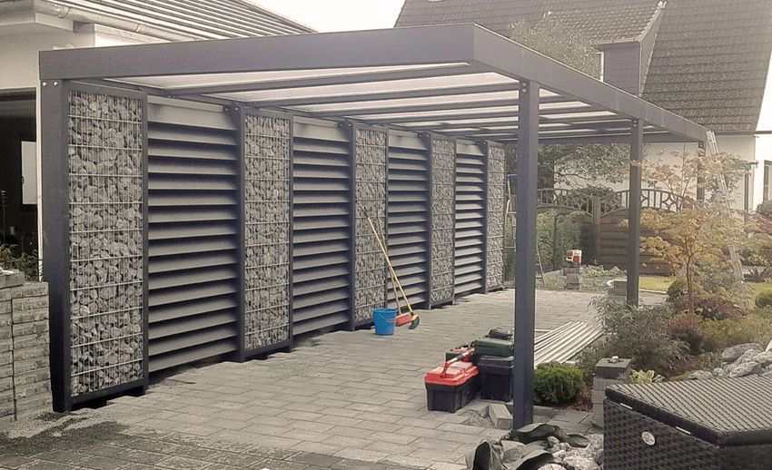 Gabionen Carport Steelmanufaktur Gabionen Carport Carport Uberdachung