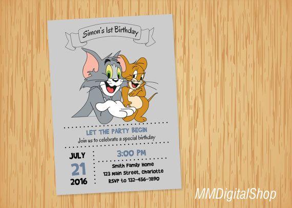 Tom And Jerry Birthday Invitation Printable Invitaciones