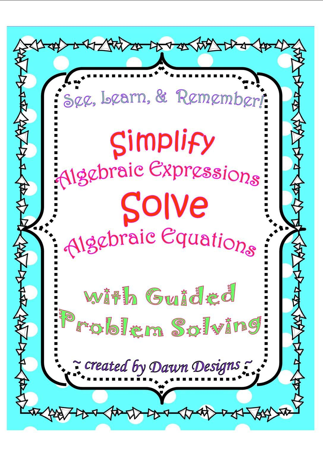 Simplifying Algebraic Expressions Amp Solving Linear