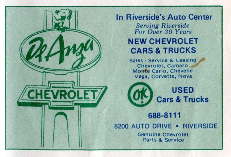 1977 De Anza Chevrolet Dealership Riverside California Chevrolet Dealership Chevrolet Parts Car Dealership