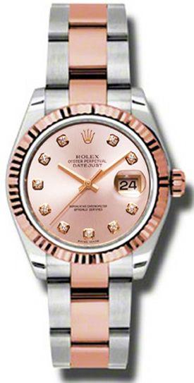 7b7489c0999 Rolex Datejust 31 Pink Diamond Fluted Bezel Watch 178271 in 2019 ...