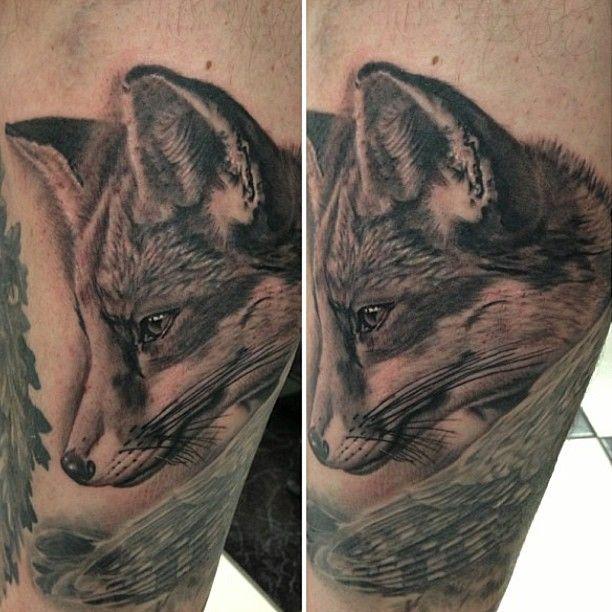 Black And Grey Fox Tattoo Fox Tattoo Black And Grey Tattoos Grey Fox