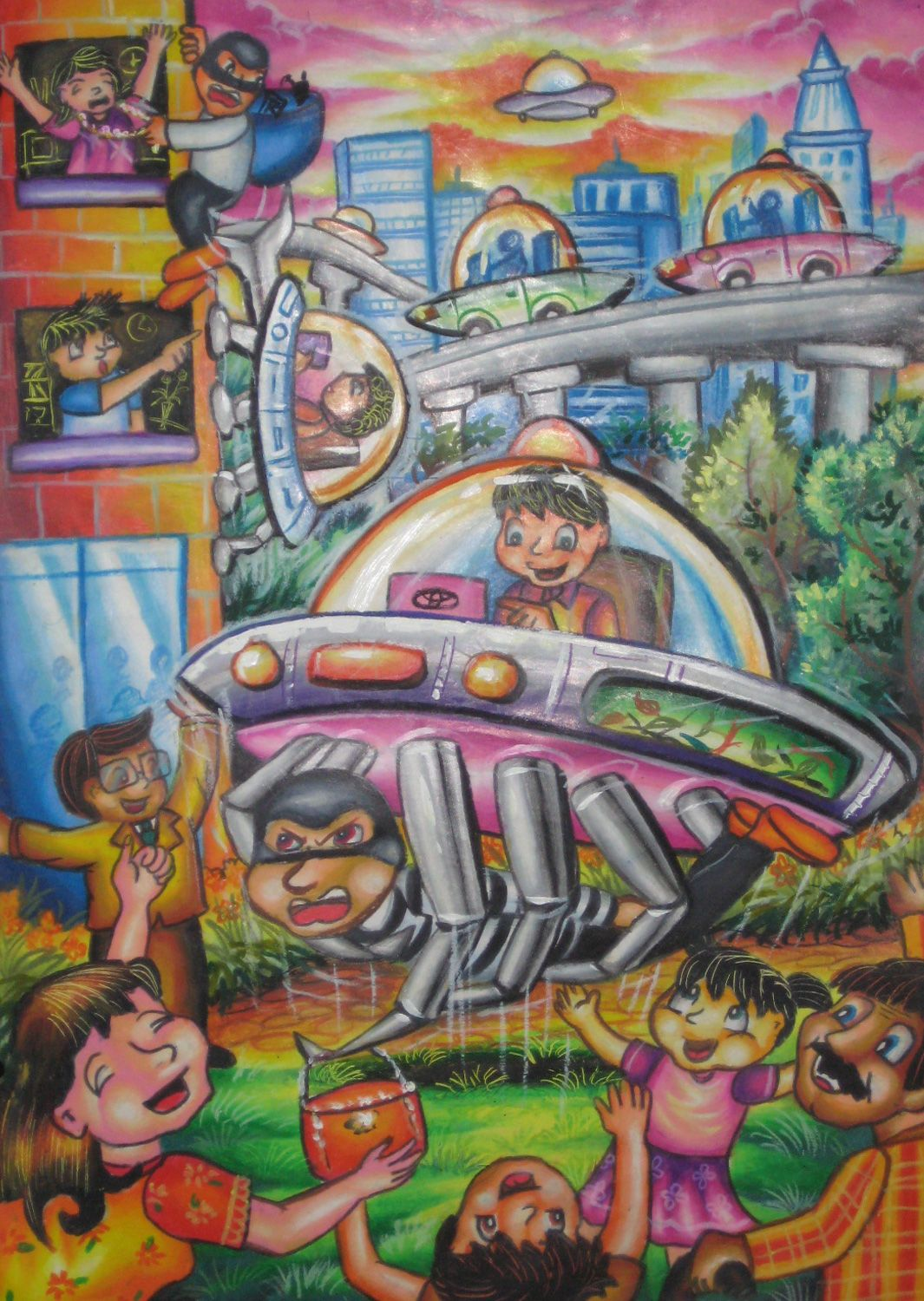 'Security Car' by Stanley Orlando, Aged 11, Indonesia: 4th Contest, Bronze #KidsArt #ToyotaDreamCar
