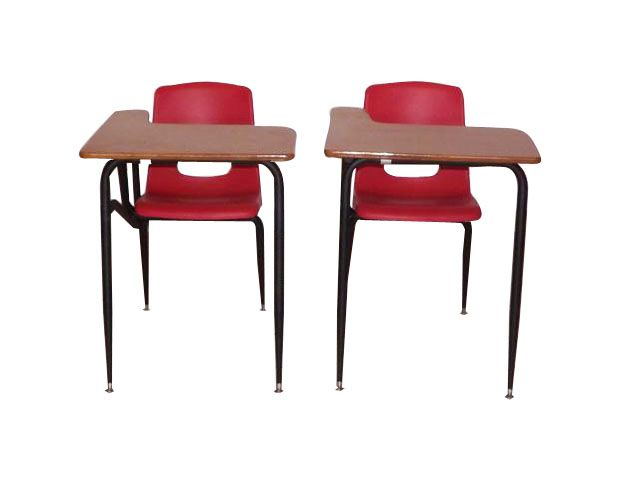 Student Seat and Desk Combination      Colors: Red, Green, Blue     Desk available in adult size only. Comes in 2 colors powder coated and chrome metal. Seat are plastic and bucket seat style. For larger orders and special colors special order is required.