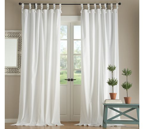 Textured Cotton Tie Top Curtain With Images Tie Top Curtains