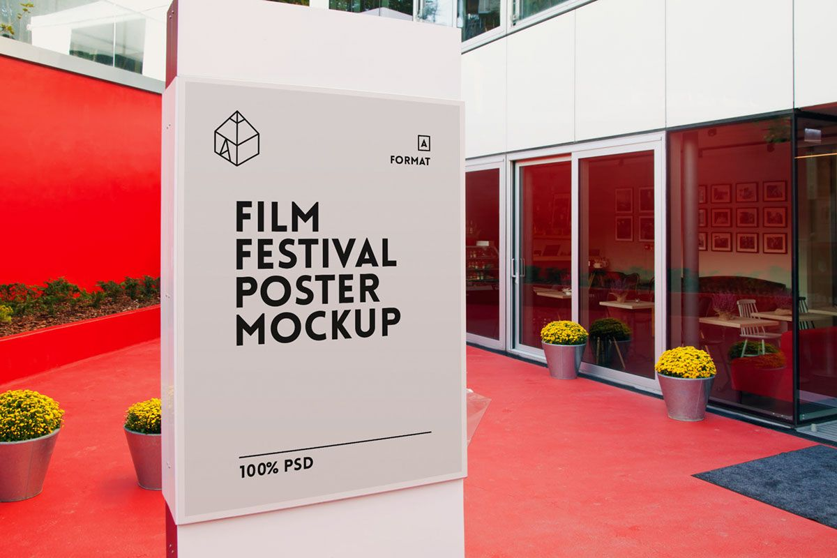 Design your poster free - Distinctive And Elegant Film Festival Poster Mockup To Display Your Poster In A Photo Realistic