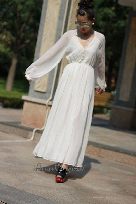 625d6919ac long sleeve white Maxi Dress White chiffon dress by DressOriginal ...