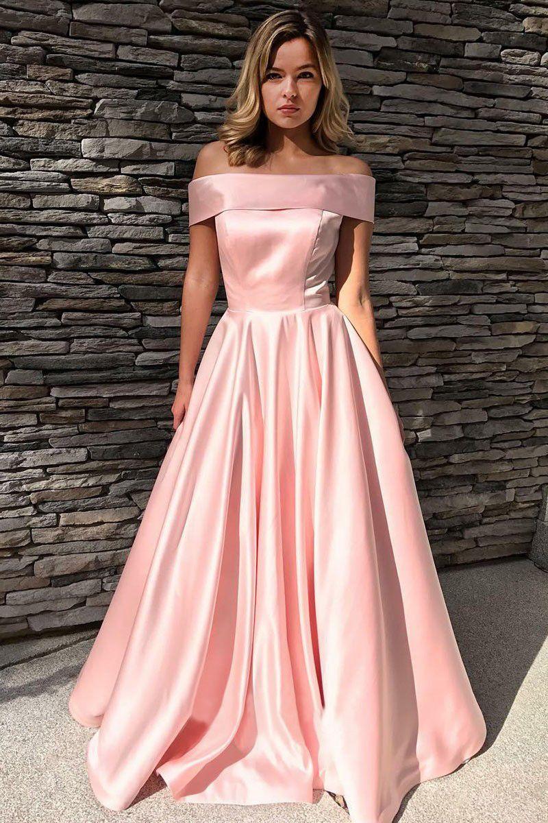 A-Line Off-the-Shoulder Sweep Train Fuchsia Satin Evening Prom Dress ...