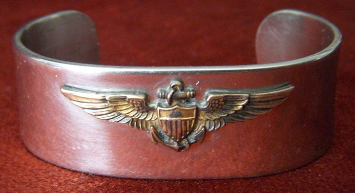 WWII US Navy Pilot Sweetheart Bracelet with Gold On Silver