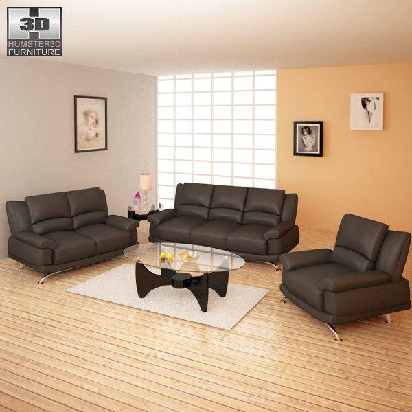 Living Room Furniture 09 3D 3Ds - 3D Model 3D-Modeling Pinterest