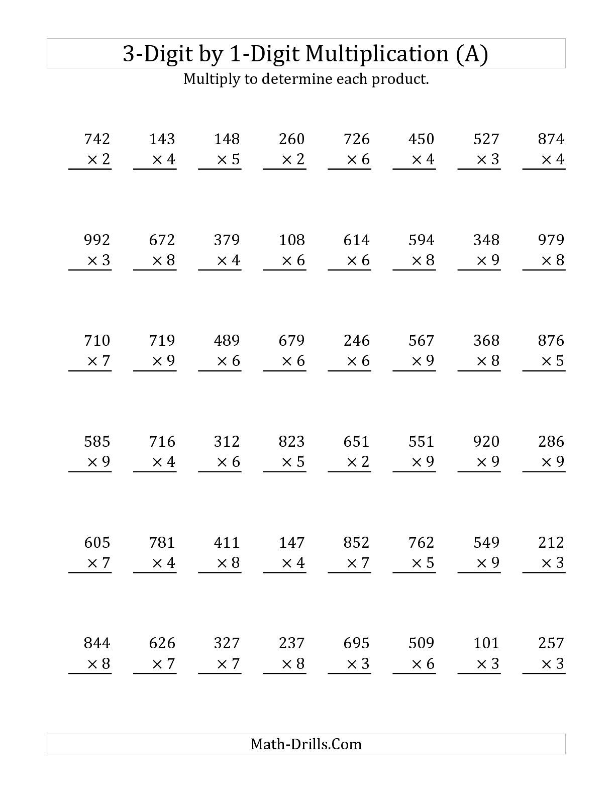 3-Digit by 1-Digit Multiplication (A) Math Worksheet #freemath ...