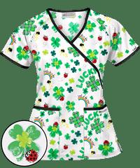 ac582d629fe UA Lady Luck White Mock Wrap Print Scrub Top | Scrubs | Uniformes de ...