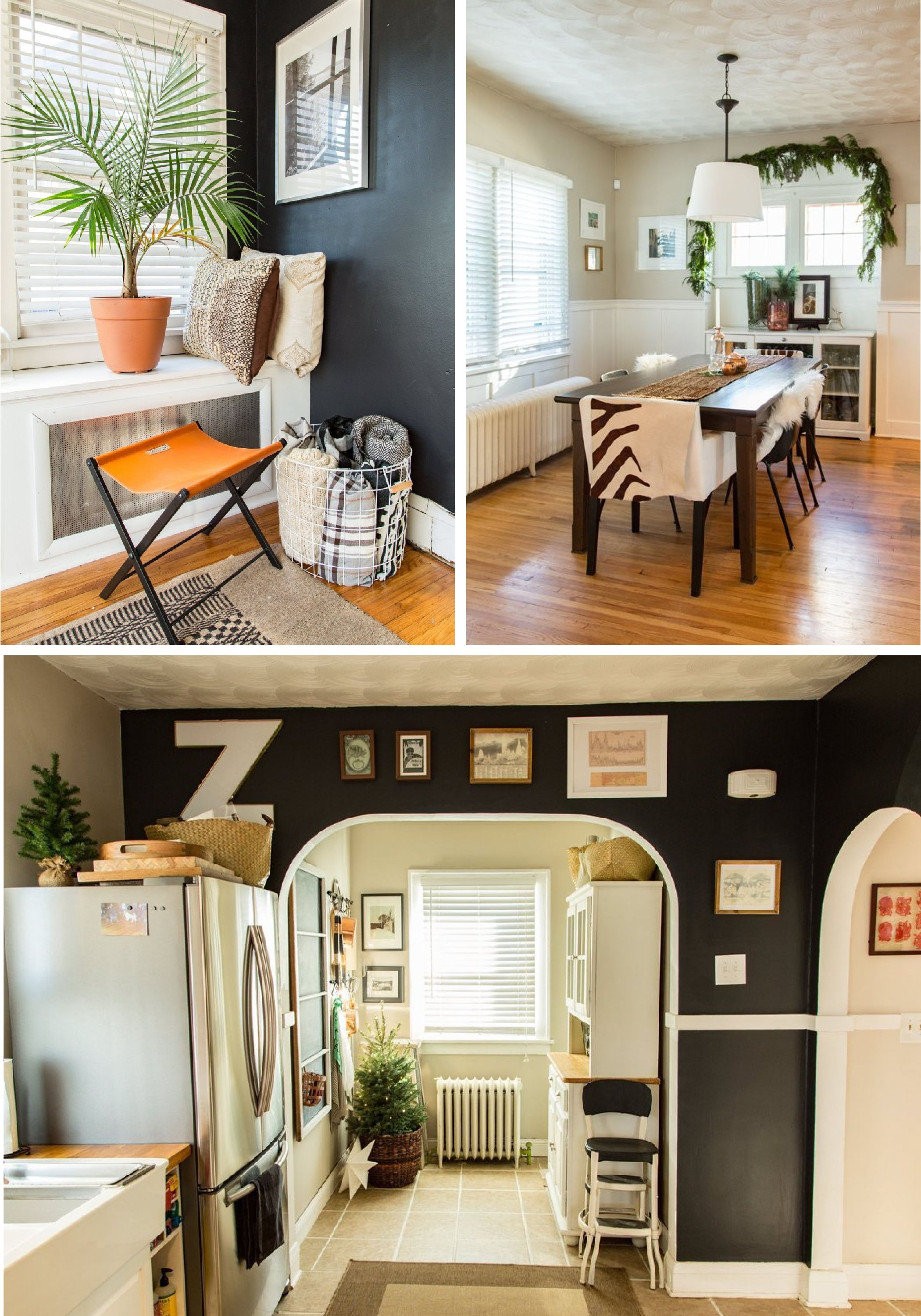 Transform your home into an eclectic design dream—with accents of cozy textures, sleek furniture, and personalized art decor! | Featured BEHR paints: Bitter Chocolate, Polar Bear, and Wheat Bread. Check out more from this post at Apartment Therapy.