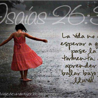 La Vida No Es Esperar A Que Pase La Tormenta Es Aprender A Bailar Bajo La Lluvia Tú Guardarás En Completa Paz A Aquel Cuyo Pensamiento En Lord My Lord Dios