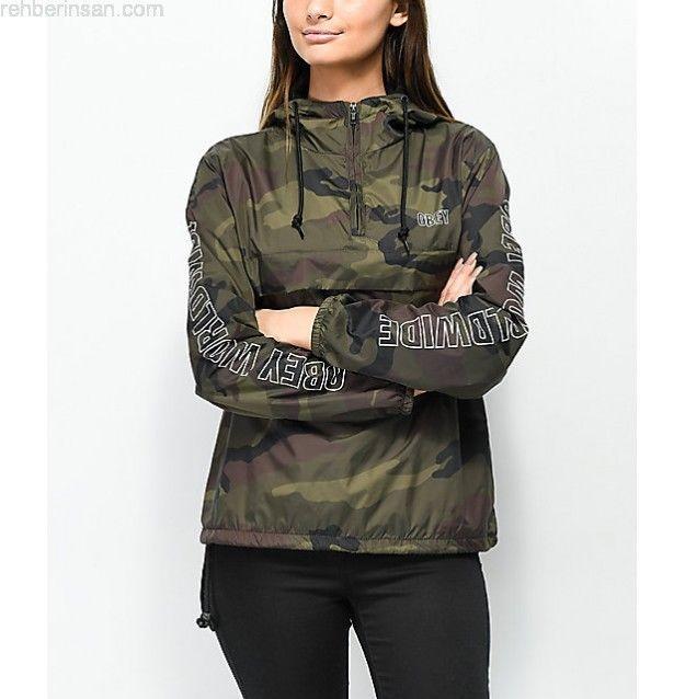 New Pacsun x OBEY Propaganda Womens Anorak Camo Wind Resistant Zip Up Jacket  Sm  OBEY  Windbreaker  Fall 355f23156d