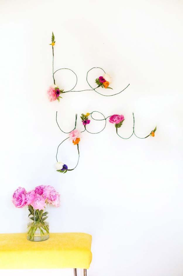 DIY Wall Art Ideas for Teen Rooms - DIY Floral and Wire Words ...