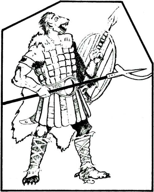 Gnolls love their pole arms. (David Sutherland, AD&D