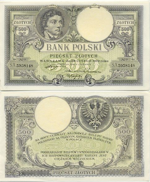 Poland  500 Zlotych 28.2.1919 (Tadeusz Kosciuszko)