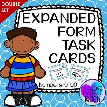Expanded Form Task Cards Double Set Sets Math Expanded Form And