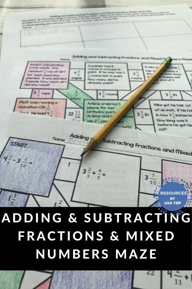 Adding and subtracting fractions and mixed numbers maze