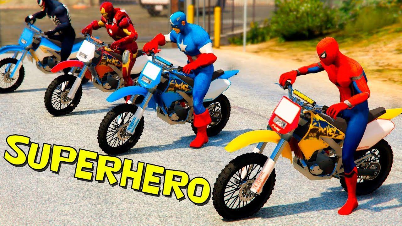 Spiderman with Superheroes in pursuit of Joker - Motorbikes Cars ...