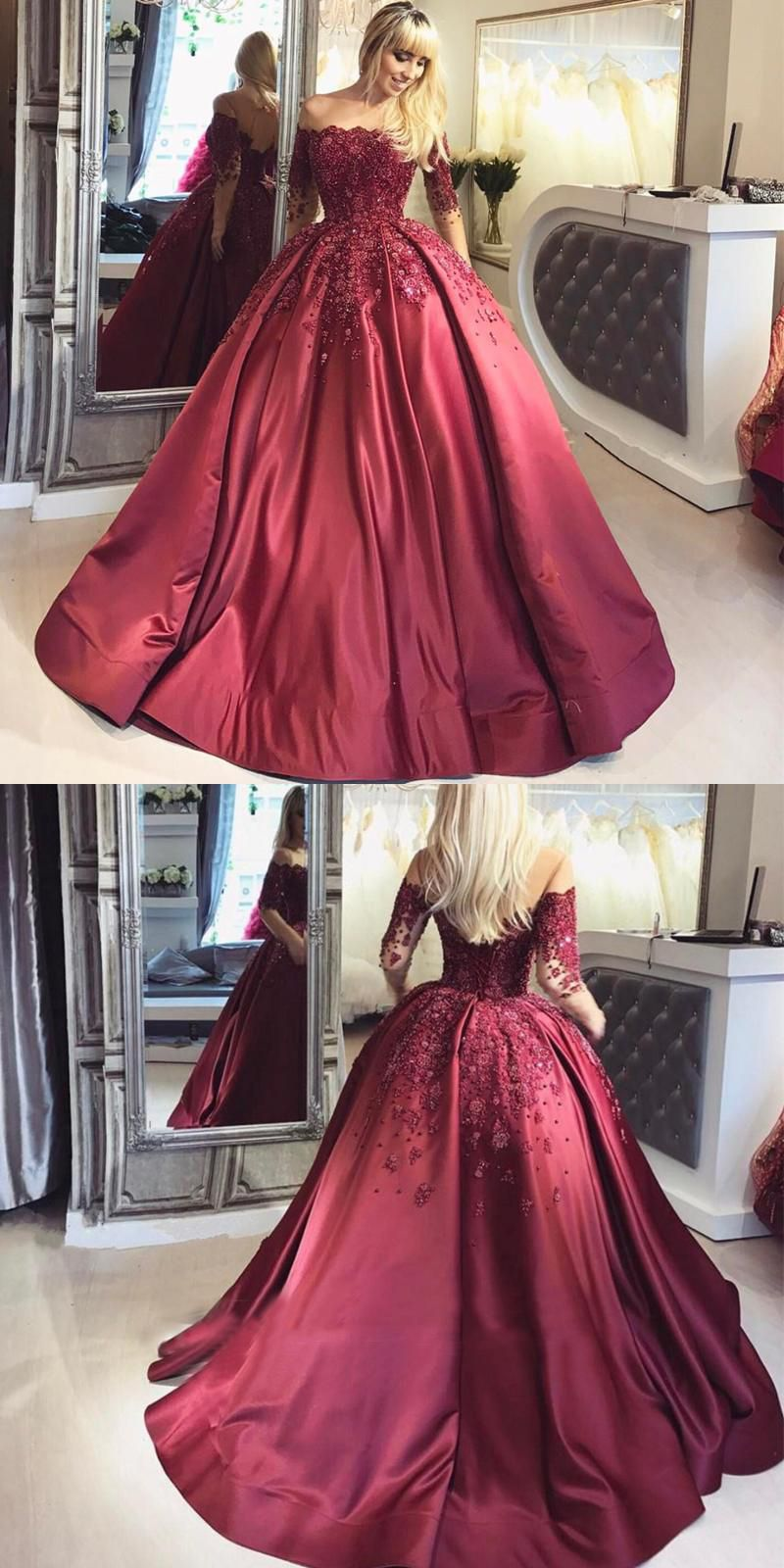 Glamorous ball gown offtheshoulder long sleeves burgundy prom