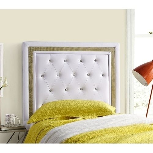 Tavira Allure College Headboard - White with Gold Crystal Border (Adjustable - Padded - Assembly Required) images