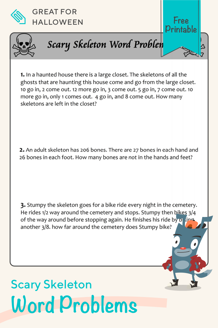 Scary Skeleton Word Problems Worksheet Education Com Word Problems Teaching Subtraction Word Problem Worksheets [ 1102 x 735 Pixel ]