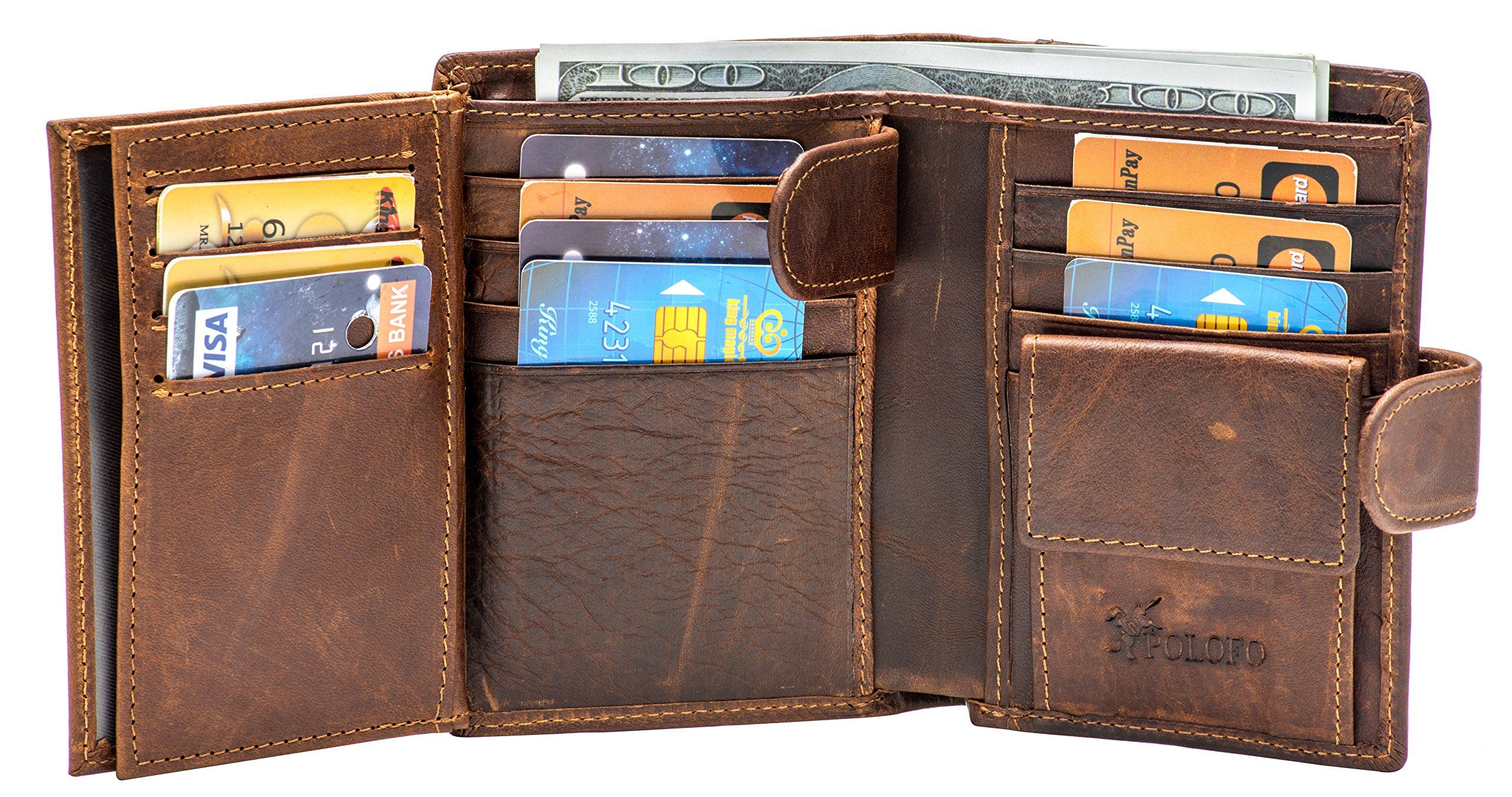 Large rfid genuine leather card holder trifold wallet snap