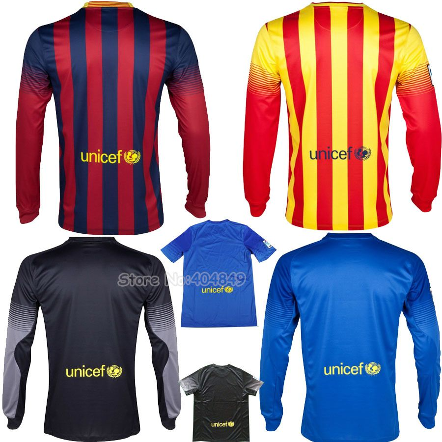 13 14 Fc Barca home away Long Sleeve MESSI NEYMAR soccer jersey VALDES  goalkeeper blue shirt