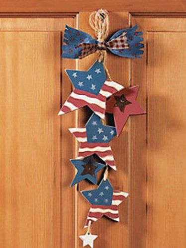 Fe Otc Patriotic 4th Of July Raffia Wood Door Hanger