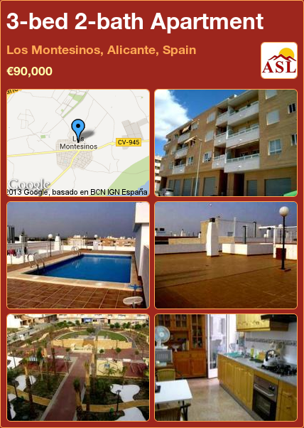 3-bed 2-bath Apartment in Los Montesinos, Alicante, Spain ►€90,000 #PropertyForSaleInSpain