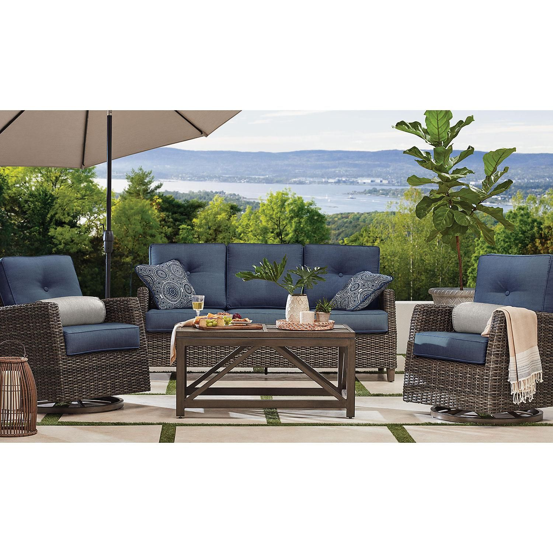 Member S Mark Agio Fremont 4 Piece Patio Deep Seating Set With Sunbrella Fabric Indigo Sam S Club Outdoor Furniture Sets Outdoor Seating Set Outdoor Furniture