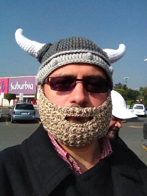 Dorable Sombrero De Viking De Punto Y Patrón De La Barba Ilustración ...