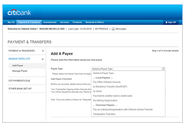 citibank to citibank wire transfer fee