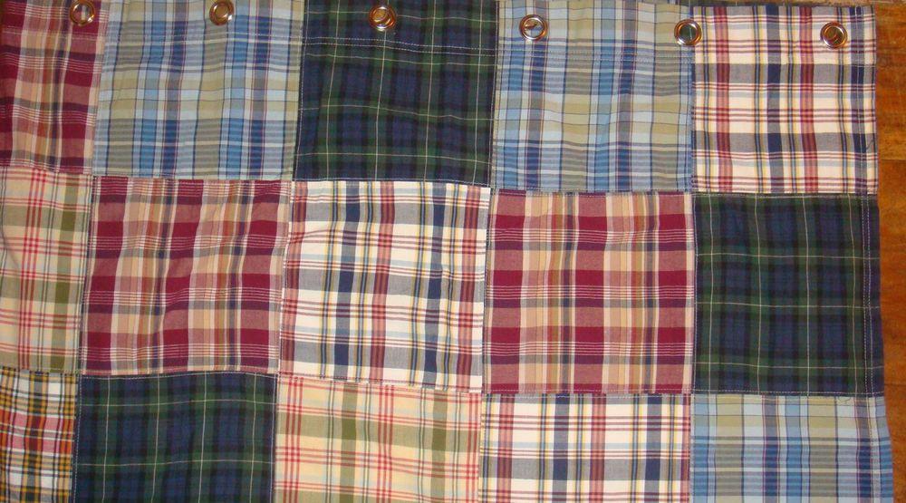 NAUTICA Cambridge MADRAS Patchwork Plaid Cotton Shower Curtain 72x72 # NAUTICA #Cottage
