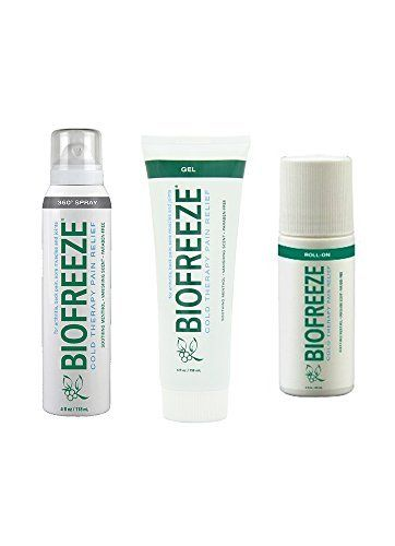 BIOFREEZE: ASSORTED 3 PACK!! One 4 oz. Gel Tube, One 4 oz. Spray & One 3 oz. Roll-On (885608591071) Relives Arthritis Pain Soothes Sore Muscles Relives Joint Pain Helps Reduce Back Pain