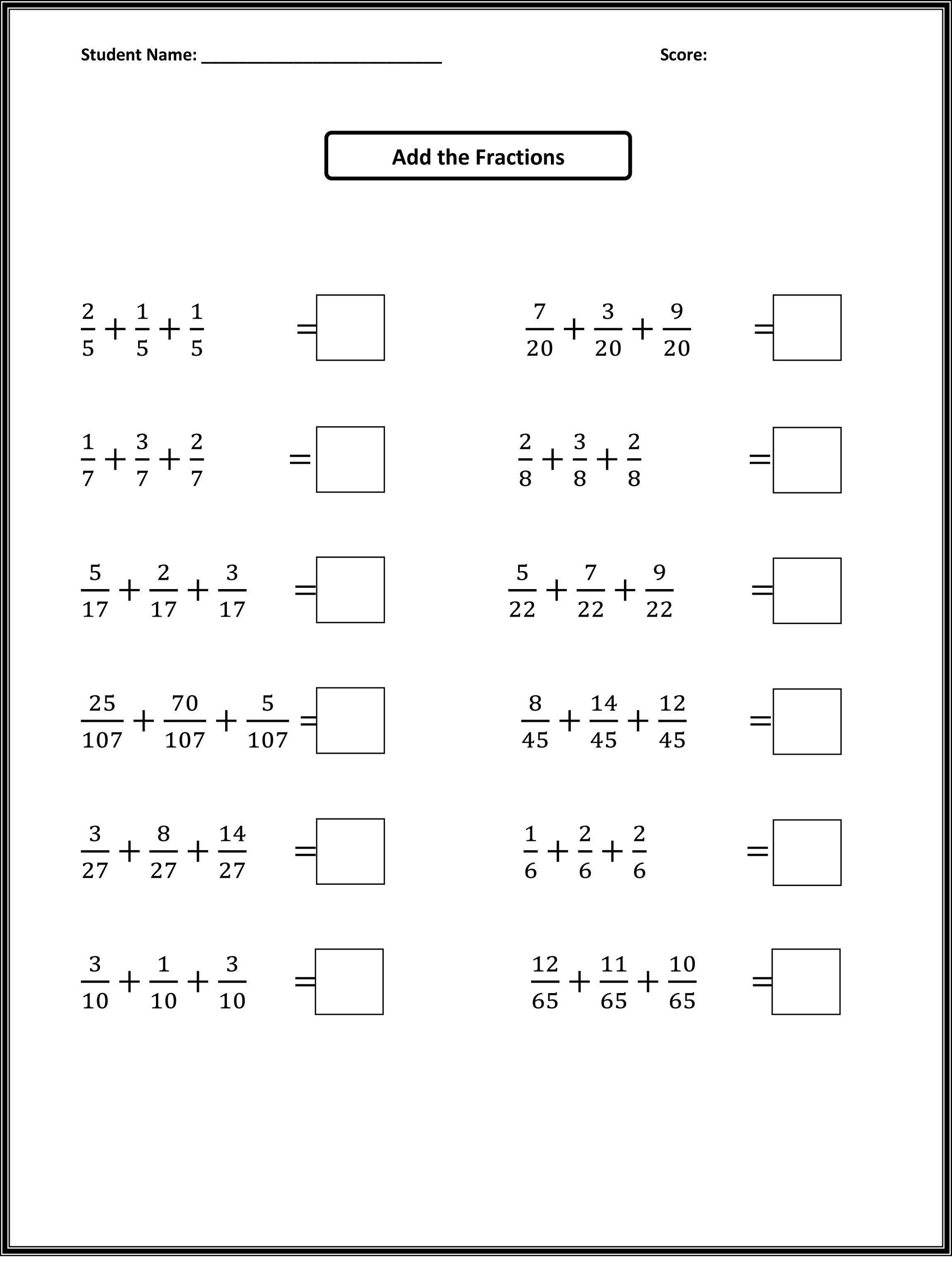 Free Easy Math Worksheets Fractions Addition