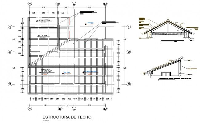 Roof Plan And Section Detail Dwg File Roof Plan Roof Roof Design