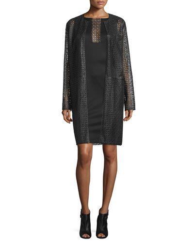 -6J7Y Carolina Herrera  Sleeveless Laser-Cut Sheath Dress, Black Collarless Laser-Cut Leather Coat, Black