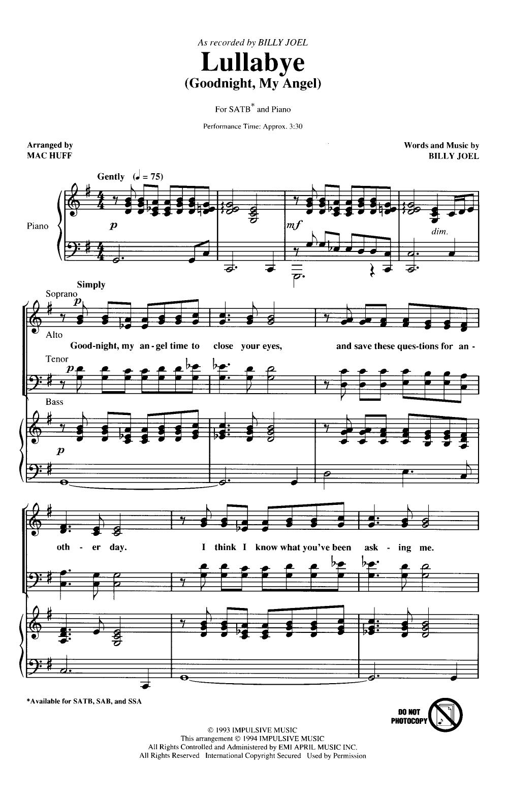Billy Joel Lullaby Sheet Music : billy, lullaby, sheet, music, Lullaby, (SATB, HUFF|, Pepper, Sheet, Music, Choral, Music,, Lullabies,, Lyrics