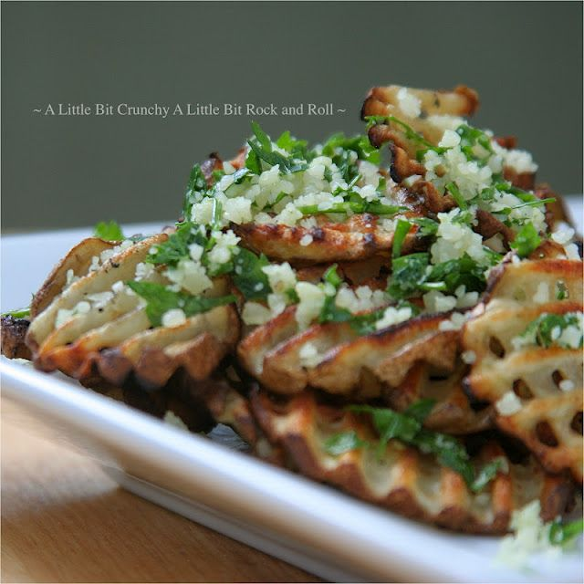 Celebrate National Potato Day! Grilled Waffle Cut Potatoes with Garlic Parmesan Topping from A Little Bit Crunchy A Little Bit Rock and Roll.