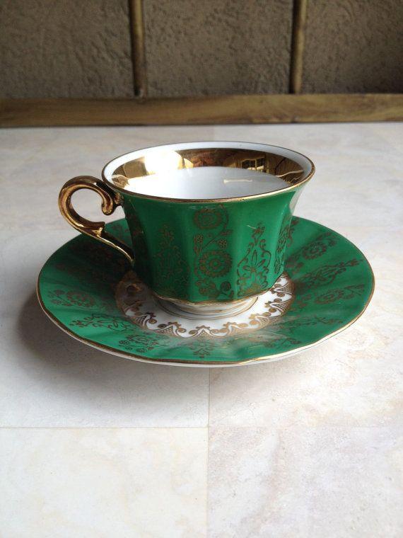 Vintage Winterling Bavaria Demitasse Green Gold by MyVintageAlcove
