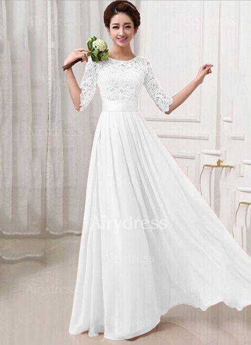 Chiffon Solid Half Sleeve Maxi Sheath Dress | Hochzeitsinspirationen ...
