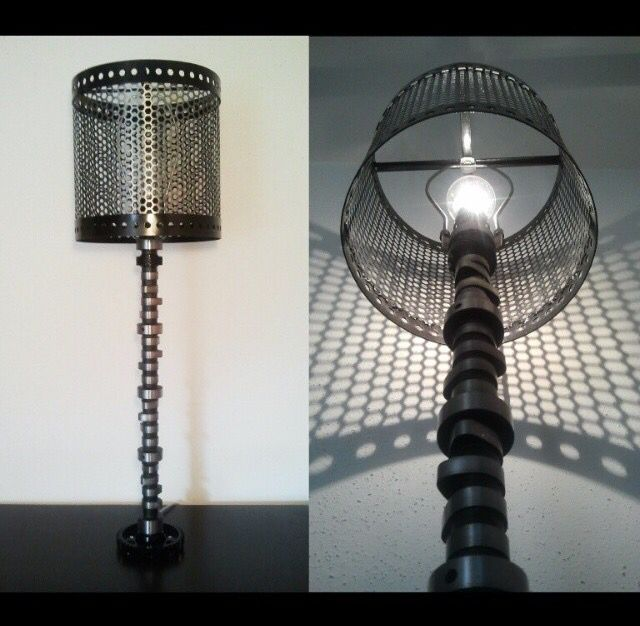 V8 Camshaft Lamp With Perforated Metal Lamp Shade