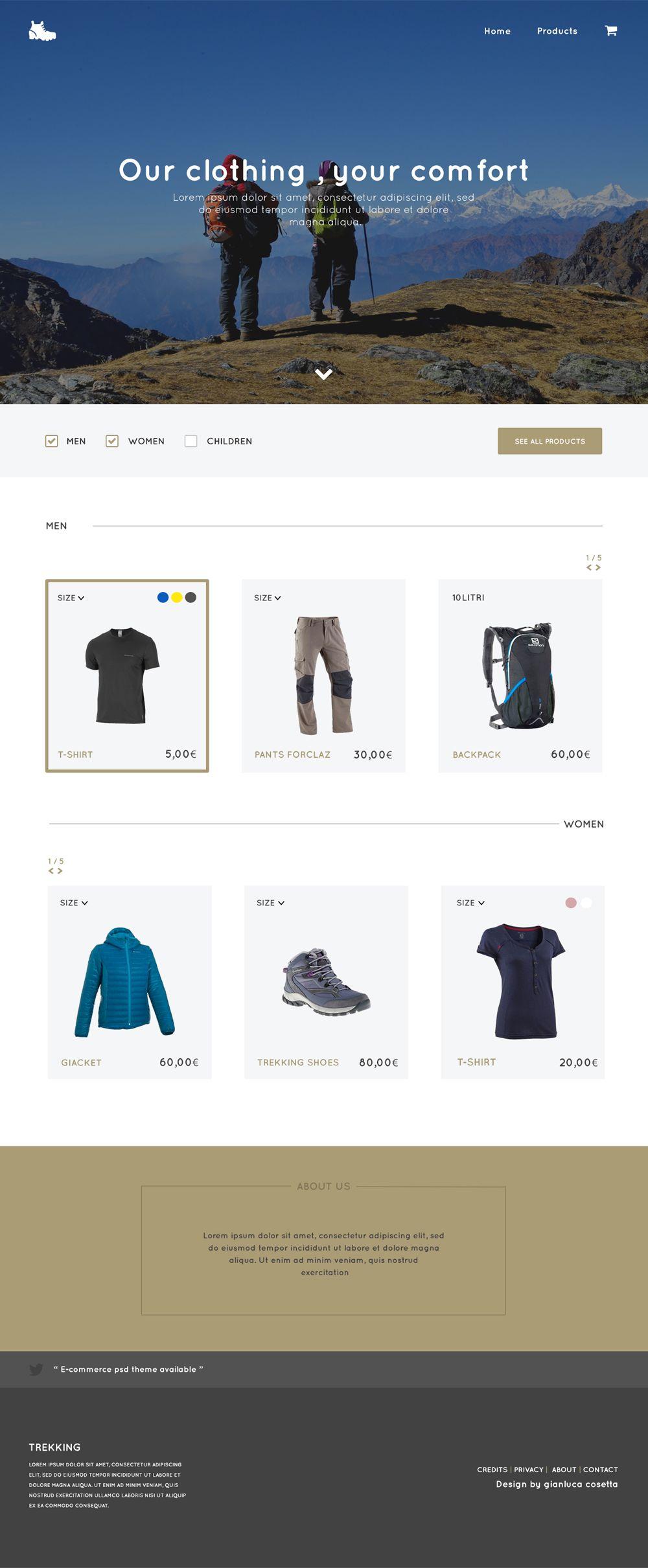 Trekking Store - Free E Commerce Web Template PSD | Free E commerce ...