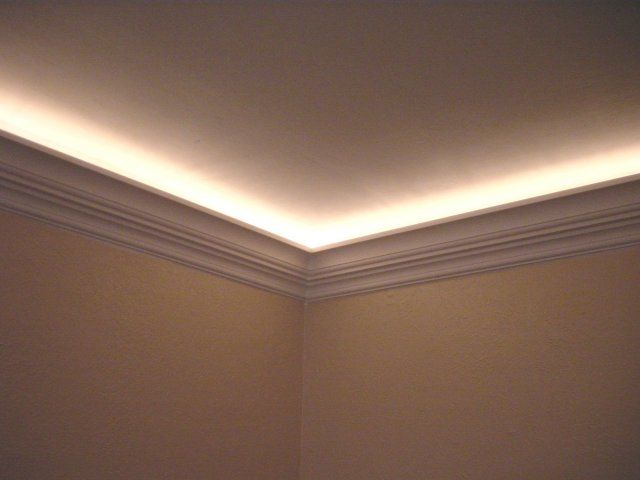 Use rope lights behind crown molding to create ambient light. & OMG OMG OMG I NEED TO DO THIS!........Use rope lights behind crown ...