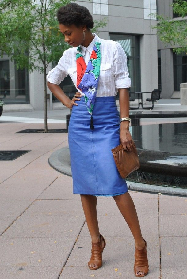 Tamia of The Style Sample in a vintage blue leather skirt | My ...