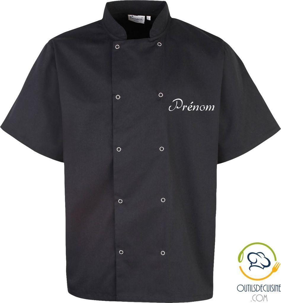 Veste De Cuisine Manches Courtes à Boutons Pression Personnalisable - Veste de cuisine personnalisée
