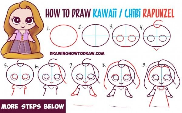 How To Draw Kawaii Chibi Rapunzel From Disney S Tangled In Easy Cute Easy Drawings Disney Drawings Disney Princess Drawings